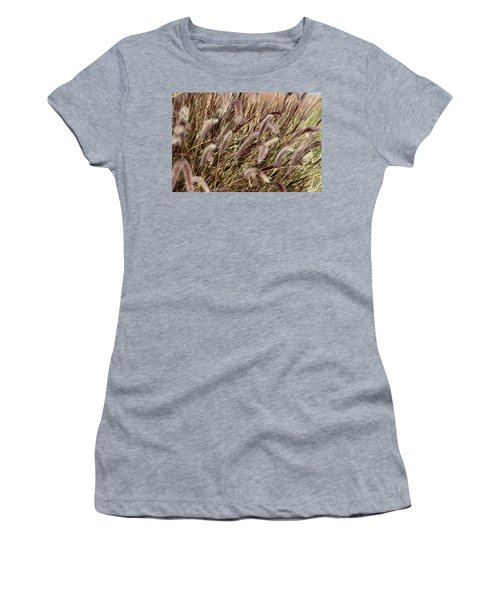 Dried Grasses In Burgundy And Toasted Wheat Women's T-Shirt (Athletic Fit)