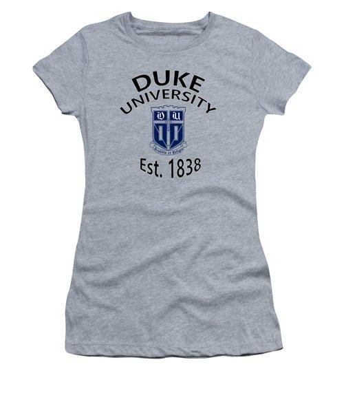 Duke University Est 1838 Women's T-Shirt (Junior Cut) by Movie Poster Prints