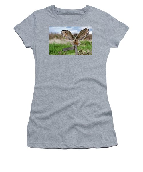 Eagle Owl On Signpost Women's T-Shirt