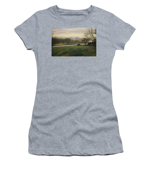 Women's T-Shirt (Junior Cut) featuring the painting Early Spring On Ernie Lane by Ron Richard Baviello