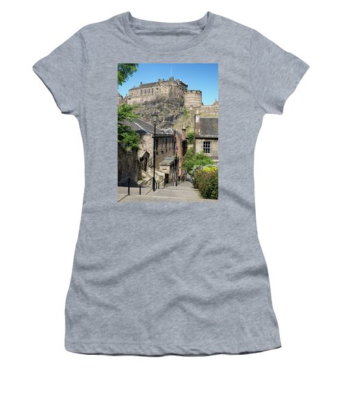 Women's T-Shirt (Athletic Fit) featuring the photograph Edinburgh Castle From The Vennel by Jeremy Lavender Photography