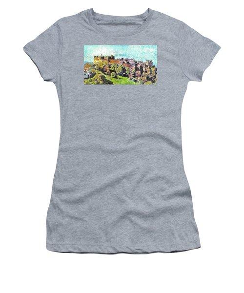 Edinburgh Castle Skyline No 2 Women's T-Shirt (Junior Cut) by Richard James Digance