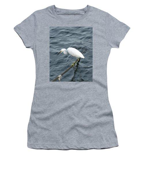 Egret On The Munch Women's T-Shirt (Junior Cut) by Margie Avellino