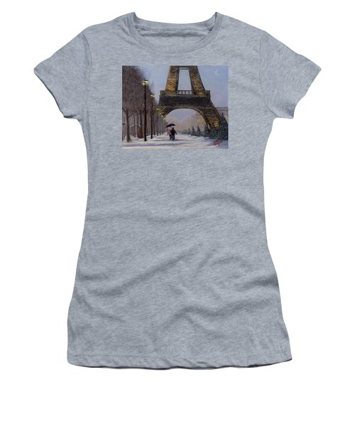 Eiffel Tower In The Snow Women's T-Shirt