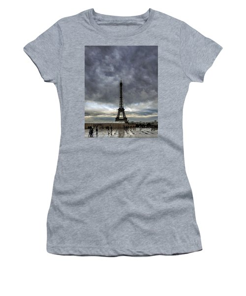 Women's T-Shirt (Junior Cut) featuring the photograph Eiffel Tower Paris by Sally Ross