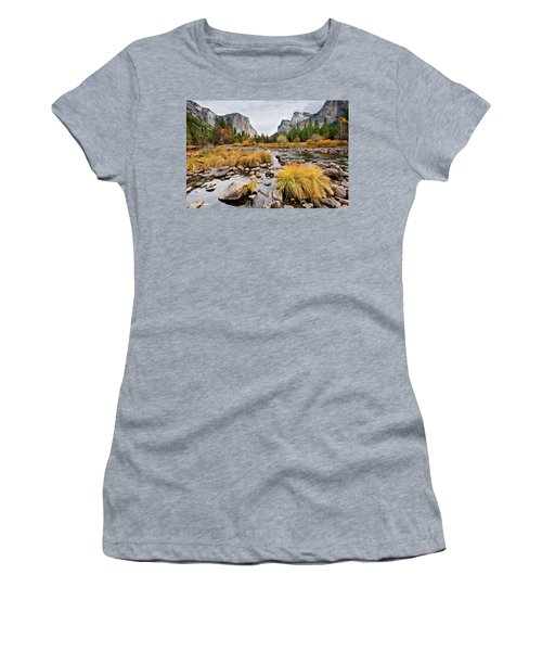 El Capitan And The Merced River In The Fall Women's T-Shirt