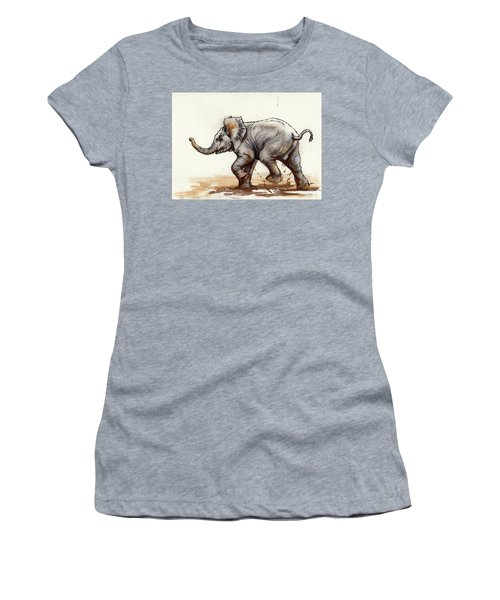 Elephant Baby At Play Women's T-Shirt (Junior Cut) by Margaret Stockdale