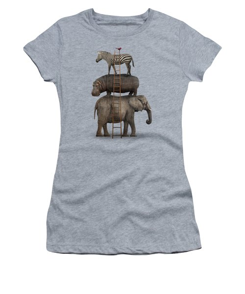 Elephant, Hippo, Zebra Animal Stack With A Cardinal Women's T-Shirt (Junior Cut) by Greg Noblin