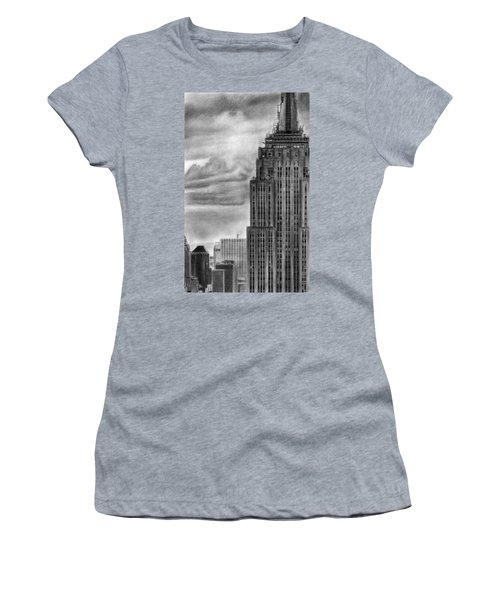 Empire State Building New York Pencil Drawing Women's T-Shirt (Athletic Fit)