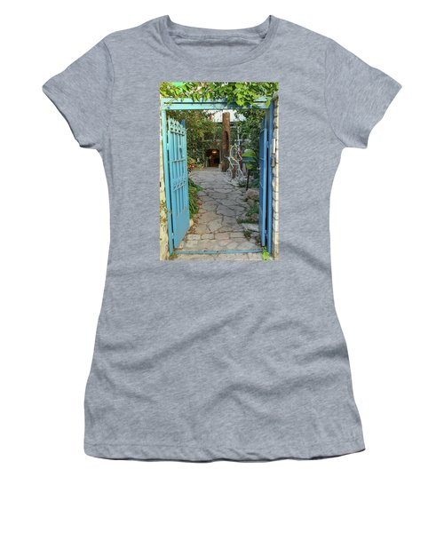 Women's T-Shirt (Junior Cut) featuring the photograph Entrance Door To The Artist by Yoel Koskas