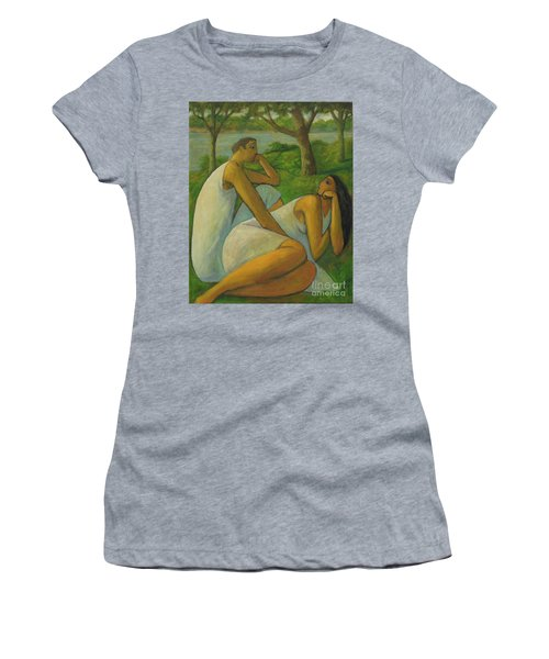 Women's T-Shirt (Junior Cut) featuring the painting Eros And Rhea by Glenn Quist