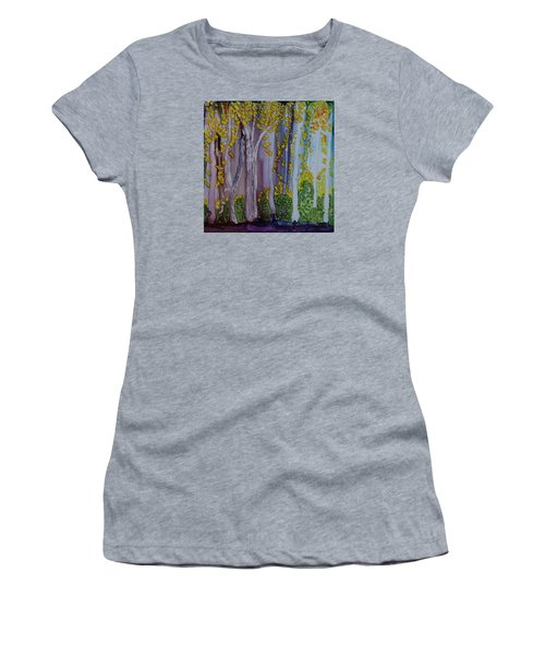 Women's T-Shirt (Junior Cut) featuring the painting Ethereal Forest by Suzanne Canner
