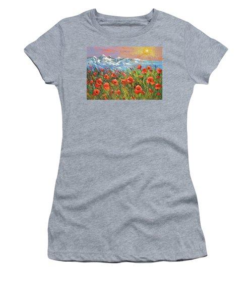 Evening Poppies  Women's T-Shirt (Junior Cut) by Dmitry Spiros