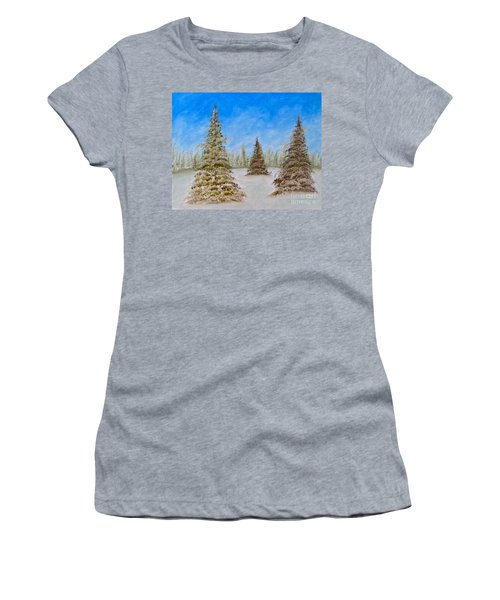 Evergreens In Snowy Field Enhanced Colors Women's T-Shirt (Athletic Fit)