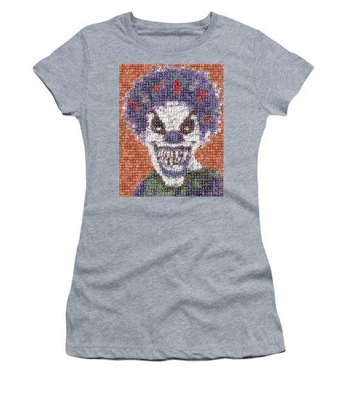 Women's T-Shirt (Junior Cut) featuring the mixed media Evil Clown Mosaic by Paul Van Scott