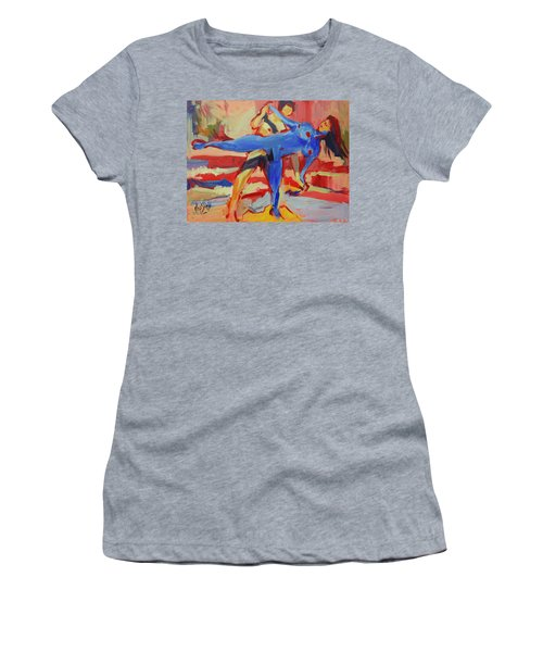 Exercising On The Beach Women's T-Shirt (Athletic Fit)