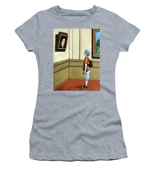 Face To Face - Boy Viewing Art Women's T-Shirt
