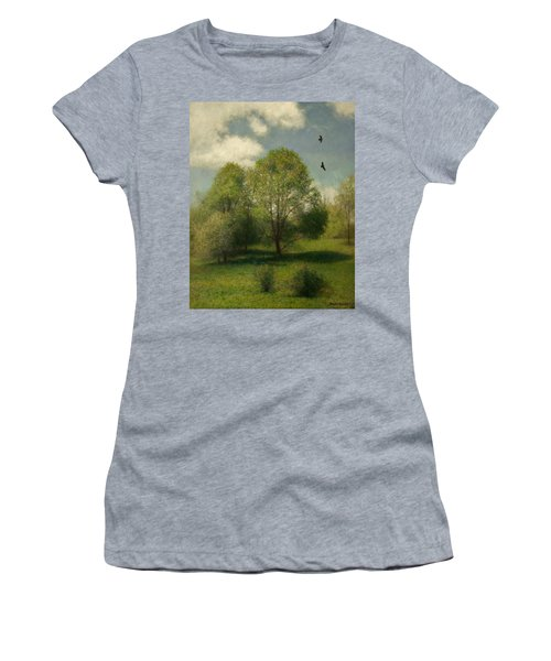 Women's T-Shirt (Junior Cut) featuring the painting Fairchild Hill by Wayne Daniels