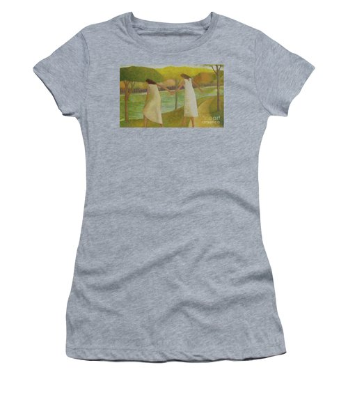 Women's T-Shirt (Junior Cut) featuring the painting Fall River by Glenn Quist