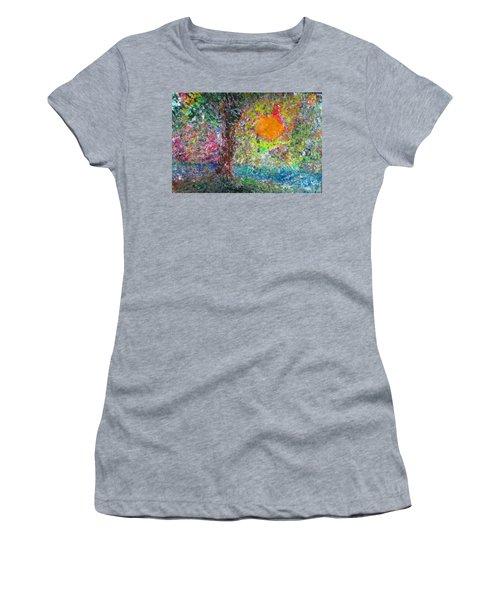 Women's T-Shirt (Junior Cut) featuring the painting Fall Sun by Jacqueline Athmann