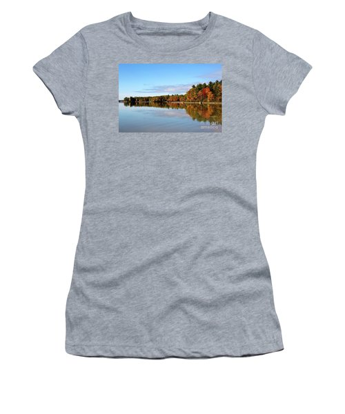 Fall Tree Reflections Lake Sabago Maine Women's T-Shirt (Athletic Fit)