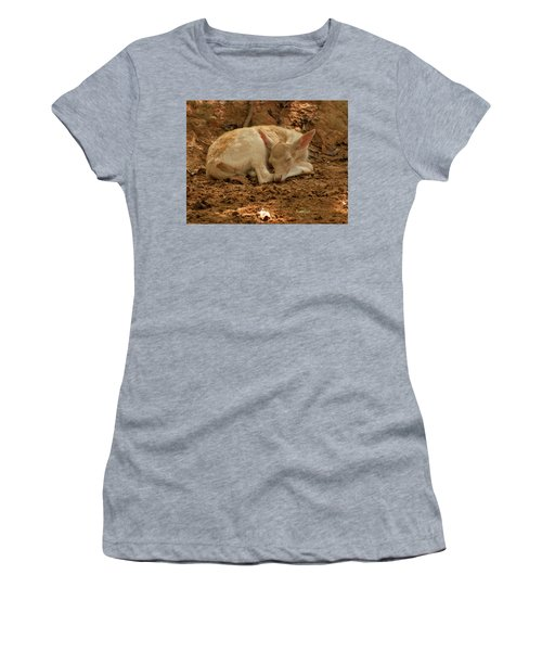 Women's T-Shirt (Athletic Fit) featuring the photograph Fallow Deer Fawn Sleeping by Chris Flees