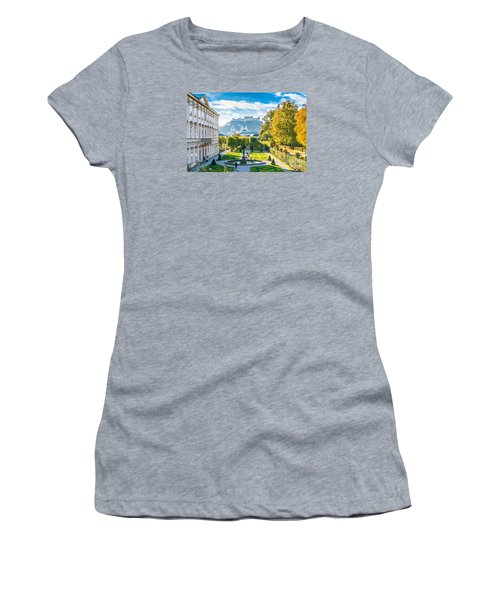 Famous Mirabell Gardens With Historic Fortress In Salzburg, Aust Women's T-Shirt (Junior Cut) by JR Photography