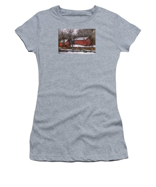 Farm - Barn - Winter In The Country  Women's T-Shirt (Junior Cut) by Mike Savad