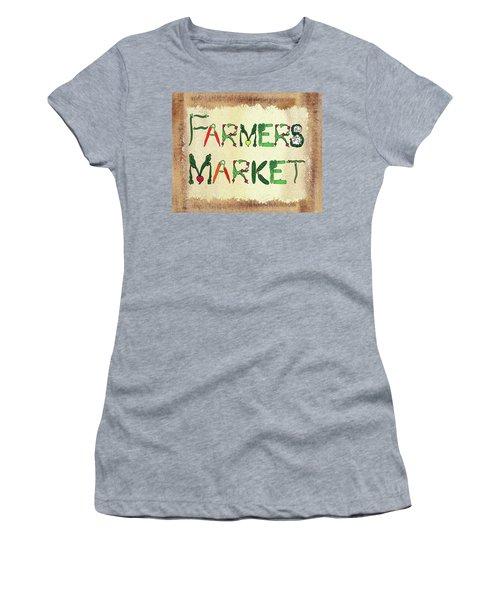 Women's T-Shirt (Athletic Fit) featuring the mixed media Farmers Market by Irina Sztukowski