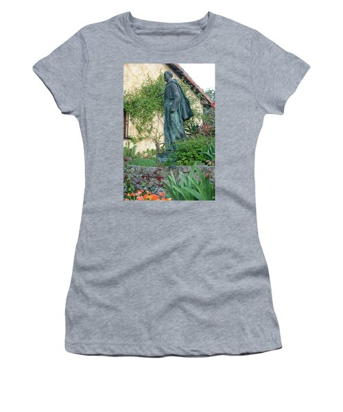Father Junipero Serra Statue At Mission Carmel Women's T-Shirt (Athletic Fit)