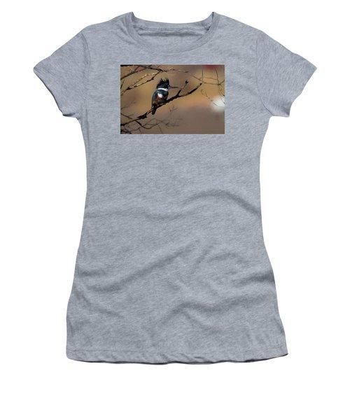 Female Belted Kingfisher Women's T-Shirt (Junior Cut) by Ernie Echols