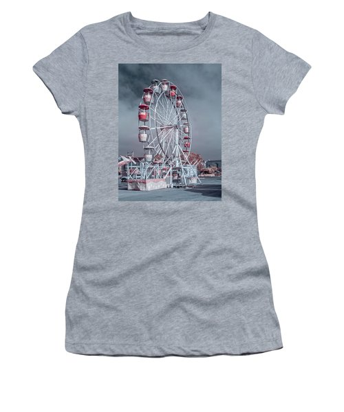 Women's T-Shirt (Junior Cut) featuring the photograph Ferris Wheel In Morning by Greg Nyquist