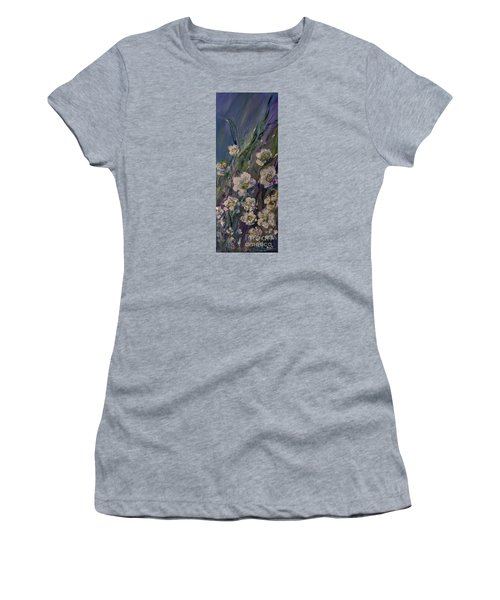 Women's T-Shirt (Junior Cut) featuring the painting Fields Of White Flowers by AmaS Art