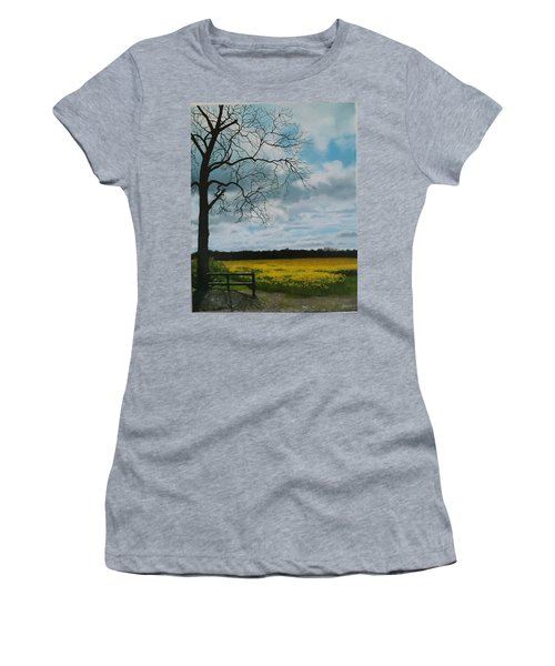 Women's T-Shirt featuring the painting Fields Of Yellow by Caroline Philp