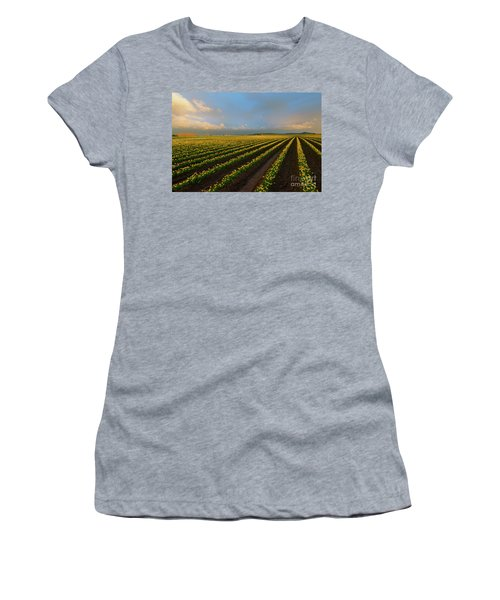 Women's T-Shirt (Junior Cut) featuring the photograph Fields Of Yellow by Mike Dawson