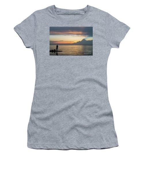 Fishing At Sunset Women's T-Shirt