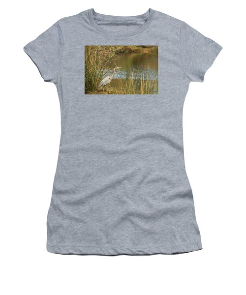 Women's T-Shirt (Junior Cut) featuring the photograph Fishing Oceano Lagoon by Art Block Collections