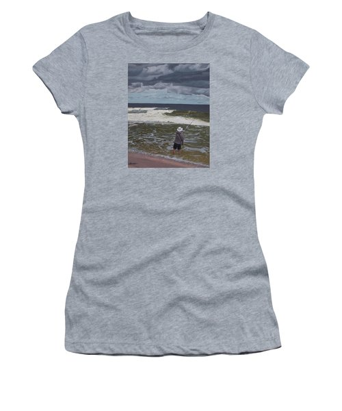 Fishing The Surf In Lavallette, New Jersey Women's T-Shirt (Junior Cut) by Barbara Barber