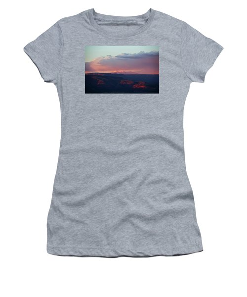 Flagstaff's San Francisco Peaks Snowy Sunset Women's T-Shirt (Junior Cut) by Ron Chilston