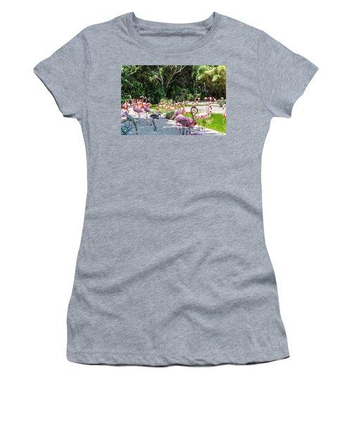 Flamingo Flock Women's T-Shirt (Junior Cut) by Daniel Hebard
