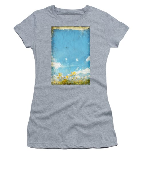 Floral In Blue Sky And Cloud Women's T-Shirt