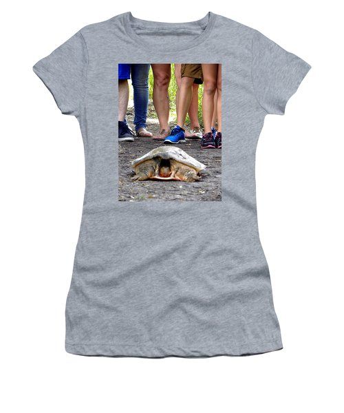 Women's T-Shirt (Junior Cut) featuring the photograph Florida Softshell Turtle 003 by Chris Mercer