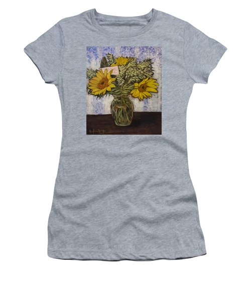 Women's T-Shirt (Junior Cut) featuring the painting Flowers For Janice by Ron Richard Baviello