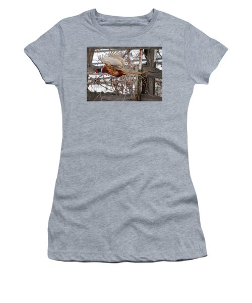 Women's T-Shirt featuring the photograph Flying Pheasant by Wesley Aston
