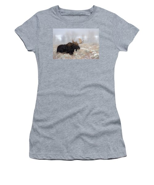 Women's T-Shirt (Junior Cut) featuring the photograph Foggy Moose Silhouette by Adam Jewell