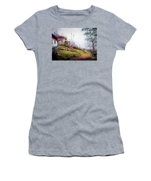 Women's T-Shirt (Junior Cut) featuring the painting Foggy Mountain Village by Samiran Sarkar