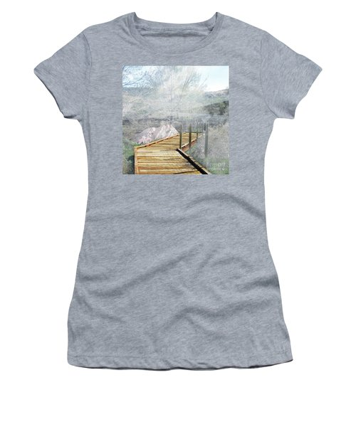 Footbridge In The Clouds Women's T-Shirt (Athletic Fit)