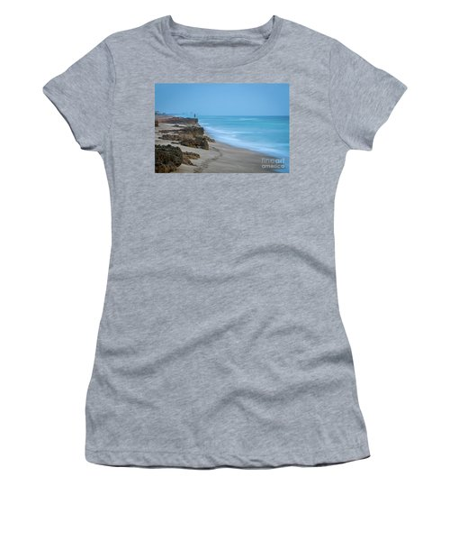 Women's T-Shirt featuring the photograph Footprints And Rocks by Tom Claud