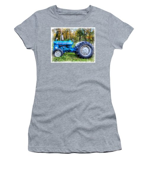 Women's T-Shirt (Athletic Fit) featuring the painting Ford 4000 Vintage Tractor by Edward Fielding