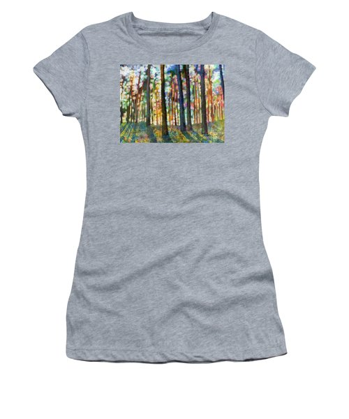 Women's T-Shirt (Junior Cut) featuring the painting Forest Light by Hailey E Herrera